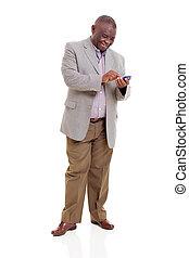 senior, afrikan bemanna, användande, smart, ringa