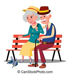 Senior Age Family Couple Sitting On A Bench And Talking Vector. Isolated Illustration