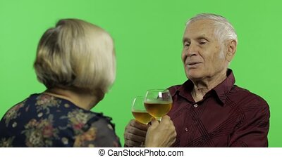 Senior aged man drinking wine with a elderly woman companion...