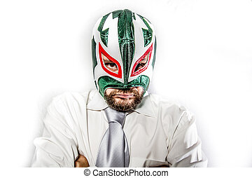 senior, aggressive businessman with Mexican warrior mask