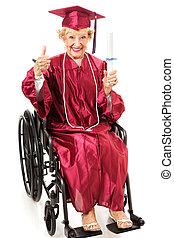 senior, akademiker, in, rullstol, -, tummar uppe