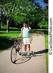 senior and bike - enjoying the great outdoors