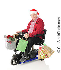 Senior and Scooter Loaded with Gifts