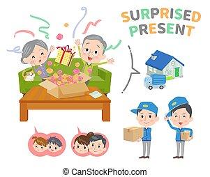 Senior anniversary surprised delivery present