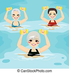 Senior Aqua Gym Dumbbells - Small group of senior women...