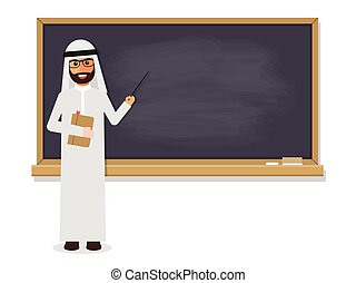 Senior Arab teacher, muslim professor standing in front of...