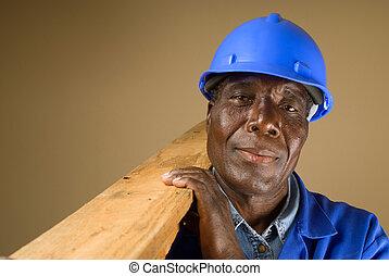 senior, arbetare, afrikansk