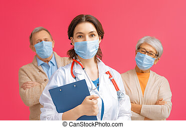 senior, arts, paar, facemasks, vervelend