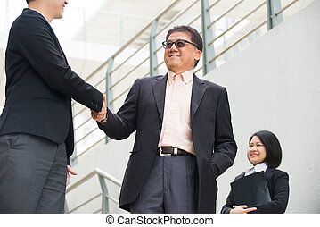 senior asian business man hand shake