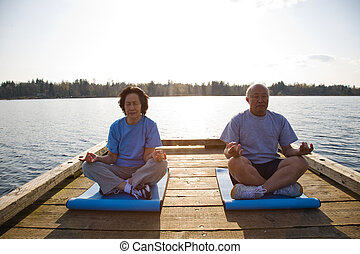Senior asian couple exercising - A shot of senior asian...