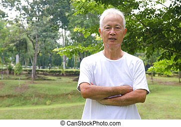 senior asian man outdoor portrait