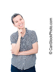 woman smiling over white background