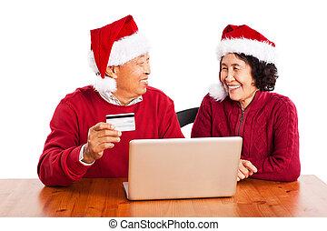senior, asiat koppla, handling direkt, celebrerande jul