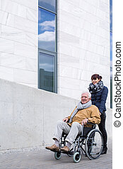 Senior assistant pushing a wheelchair