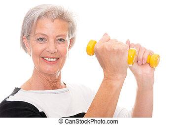 Senior at workout