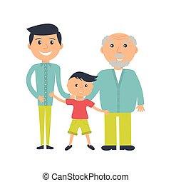 senior bábu, évek, három, gyermek