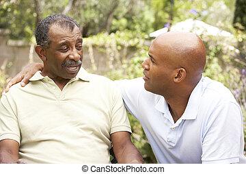 senior bábu, birtoklás, súlyos, beszélgetés, felnőtt, fiú