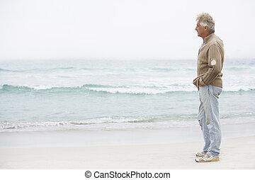 senior bábu, holiday, álló, képben látható, tél, tengerpart