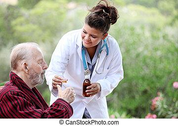 senior bábu, noha, orvos, vagy, ápoló