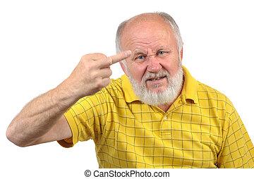 senior bald man shows middle finger - senior bald man shows...