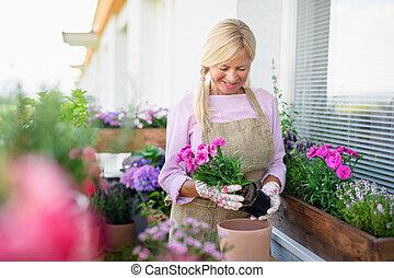 senior, balkong, trädgårdsarbete, flowers., kvinna, plantande, sommar