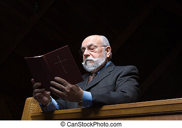 Senior Bearded Caucasian Man Kneeling Church Pew