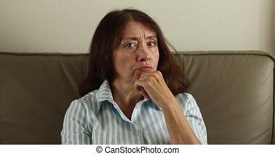Senior beautiful woman doubting - Senior beautiful woman...