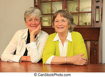 Senior best friends. - Two happy ladies in their seventies....