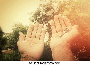 senior, biddend, kruis, man, handen