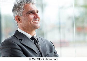senior, biznesmen, zatkać się, portret
