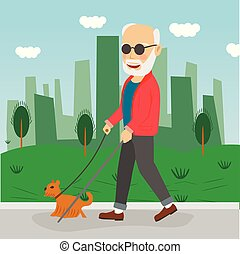 Senior blind man with guide dog walking outdoor in city park