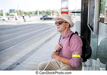 Senior blind man with white cane waiting for public ...