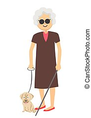 Senior blind woman standing with guide dog