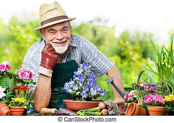 senior, blommaträdgård