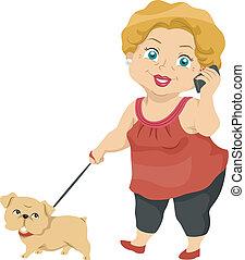 senior, boeiend, dog, haar, wandeling