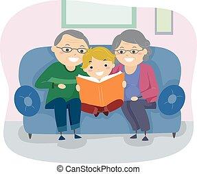 senior, boek, stickman, paar, geitje