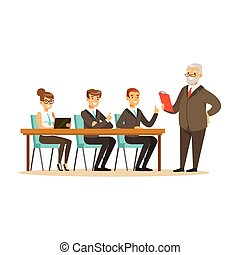 Senior boss explaining to young colleagues business ideas vector Illustration