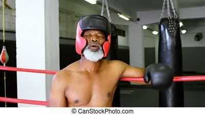 Senior boxer leaning on the boxing ring 4k