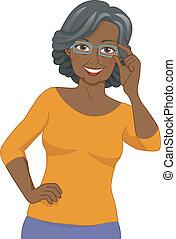 senior, brillen, zwarte vrouw