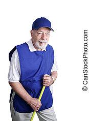 Senior Broom Jockey - A senior man sweeping up at a discount...