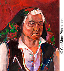 Original oil painting on canvas. Portrait showing a senior woman wearing traditional Bulgarian clothes. Modern Impressionism