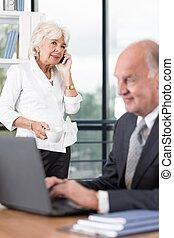 Senior business couple working