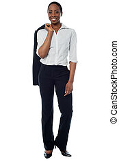 Senior business executive posing casually