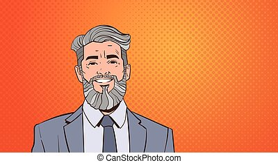 Senior Business Man Boss Portrait Over Pop Art Colorful Retro Style