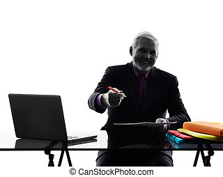 senior business man contract signing proposal silhouette