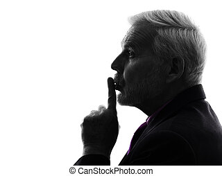 senior business man finger on lips silhouette