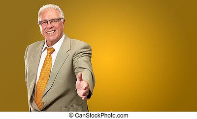 Senior Business Man Offering Handshake Isolated On Coloured ...