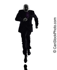senior business man running silhouette