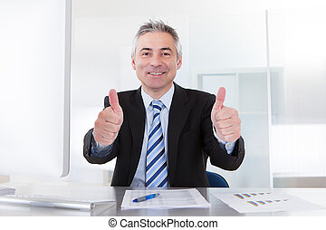 Senior Business Man Showing Thumbs Up