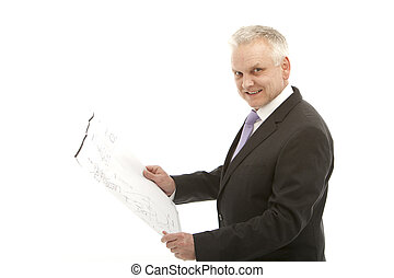 senior business man smiling with a plan in your hands - with...